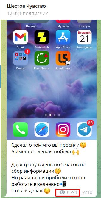 Количество просмотров у капера Шестое чувство в Телеграм